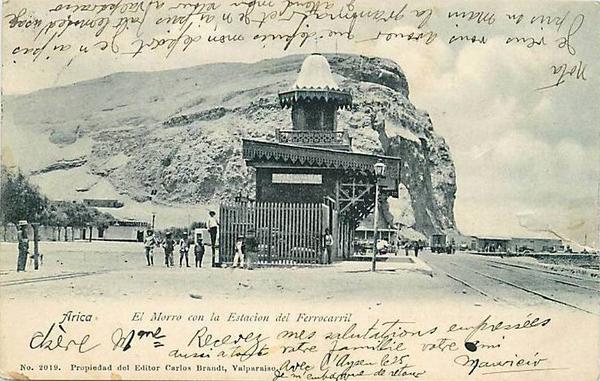 Arica - El morro con la estación del ferrocarril.