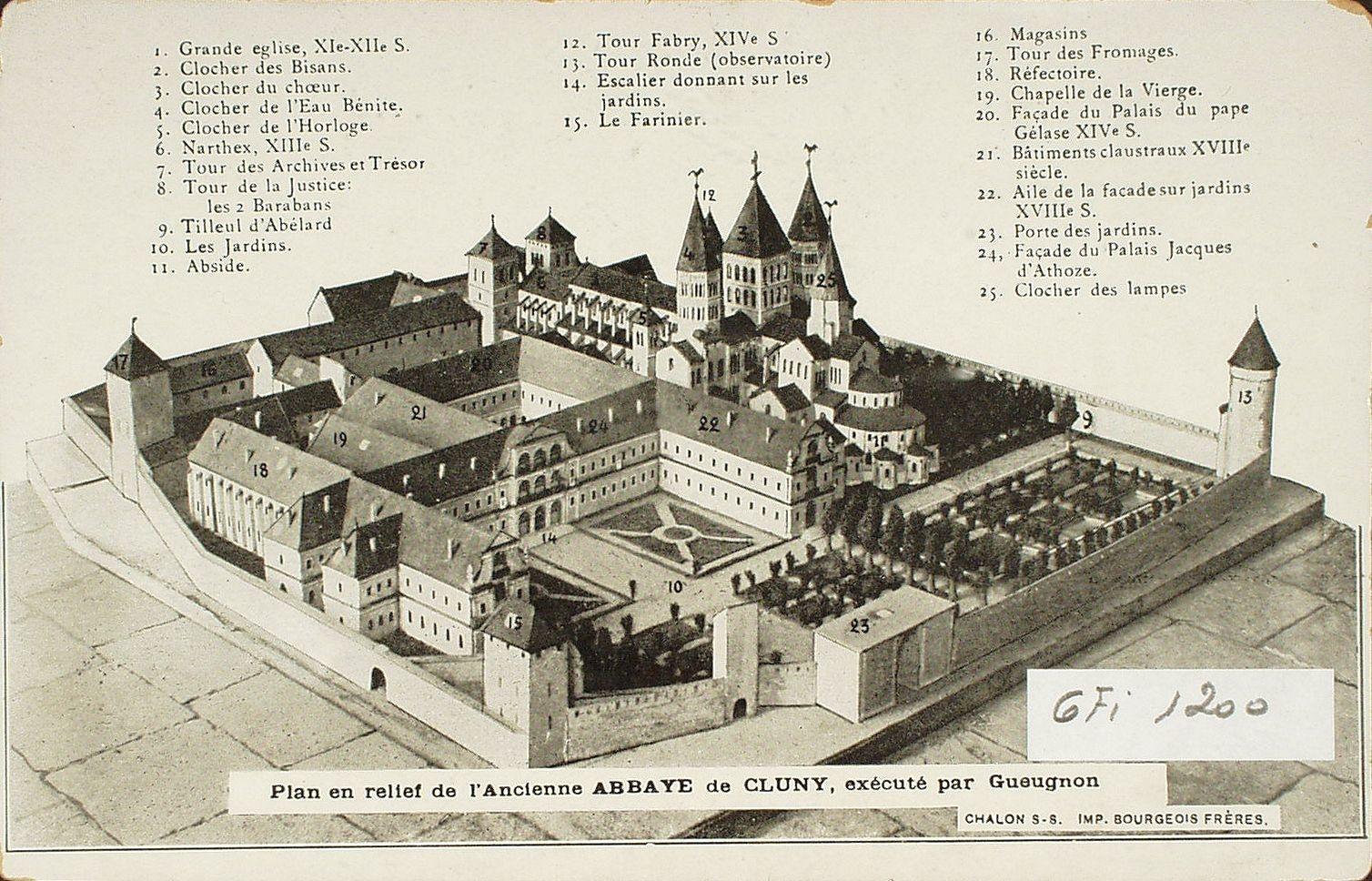 Cluny -  Plan en relief de l'ancienne Abbaye de Cluny, exécuté par Gueugnon.
