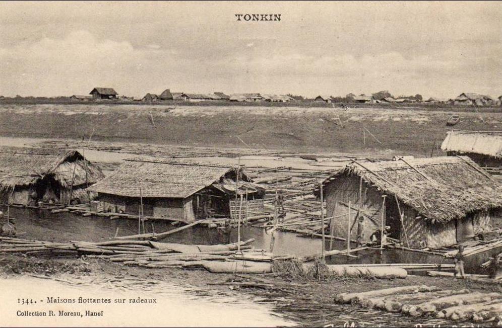 -  tonkin - maisons flottantes sur radeaux