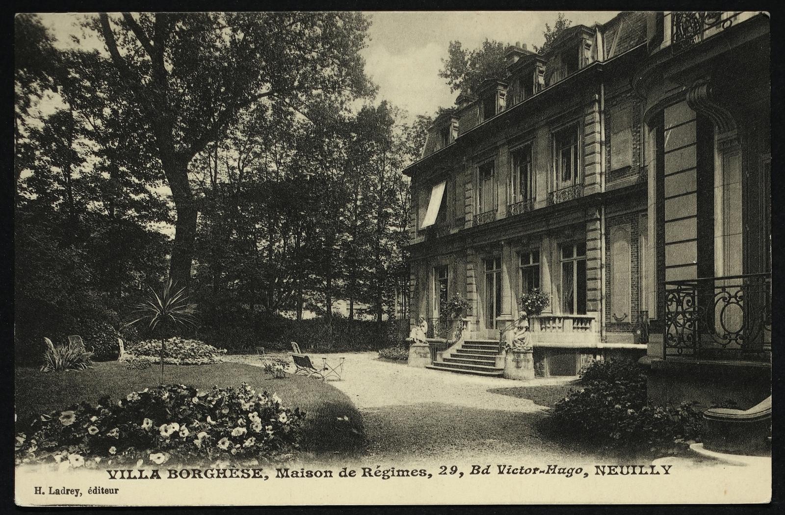 Neuilly Sur Seine Villa Borghese Maison De Regimes 29 Bd Victor Hugo Carte Postale Ancienne Et Vue D Hier Et Aujourd Hui Geneanet
