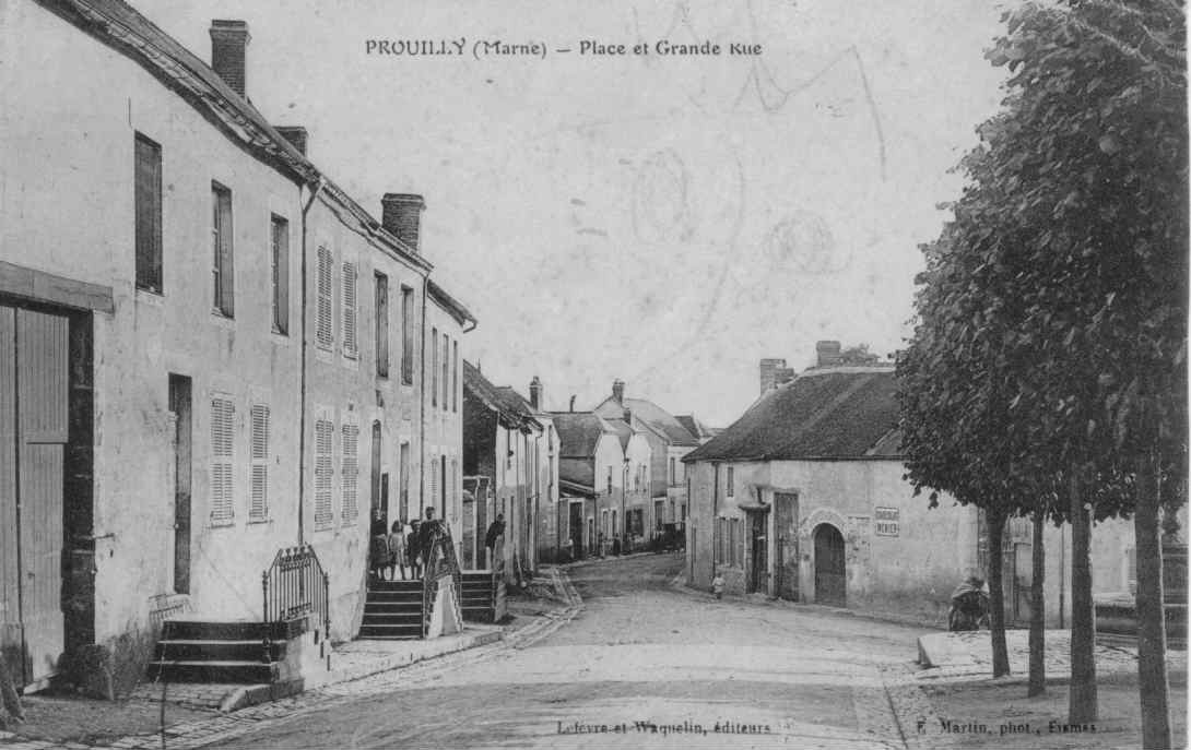 Prouilly - place et grande rue Lefevre et Waquelin, edit