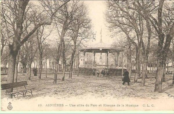 Asnières-sur-Seine - ASNIERES - UNE ALLEE DU PARC ET KIOSQUE DE LA MUSIQUE