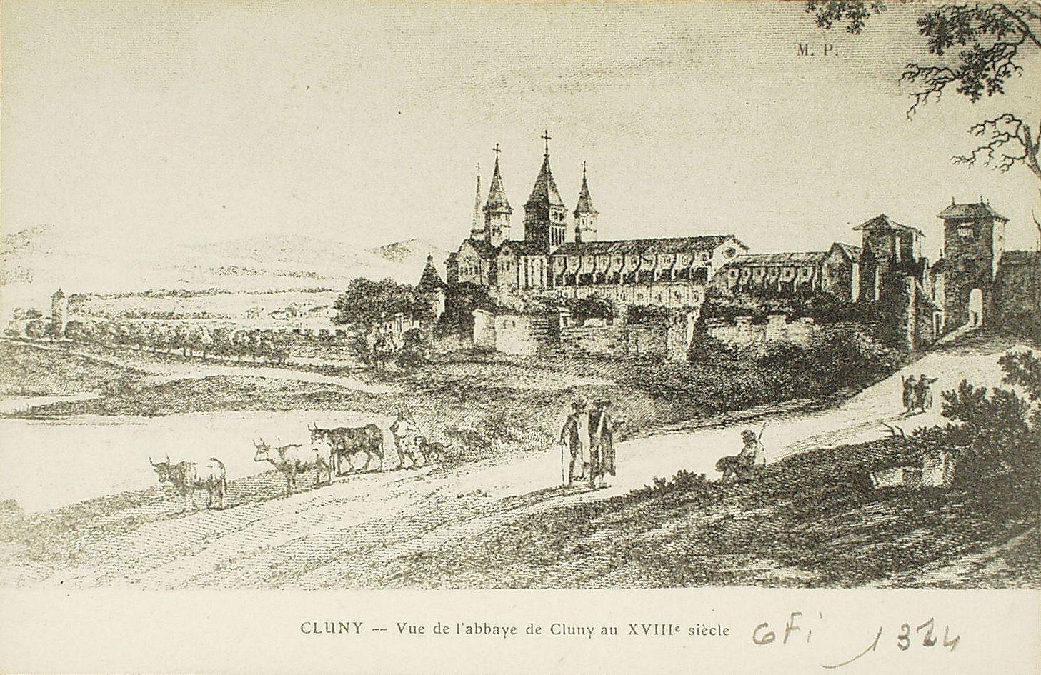 Cluny -  Cluny. Vue de l'abbaye de Cluny au XVIIIe s.
