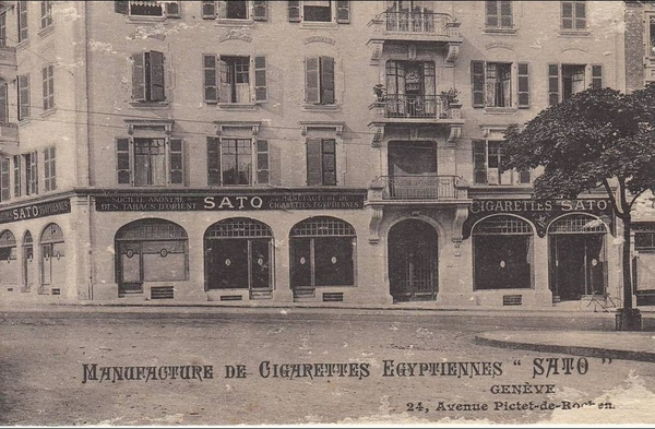Genève - Manufacture de cigarettes Egyptiennes  Sato  - Genève. Av. Pictet Rochemont / Carte assez rare