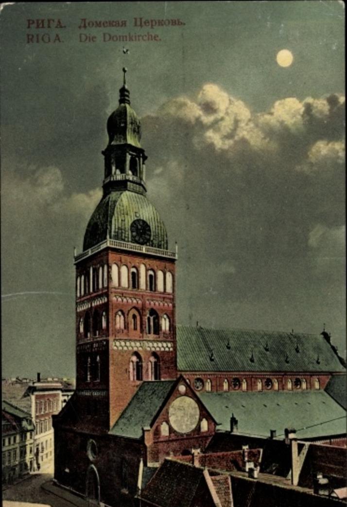 Riga -  Cp Riga Lettland, Die Domkirche bei Nacht