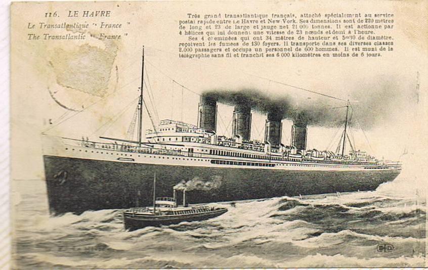 Le Havre - Le France - Carte postale ancienne et vue d'Hier et Aujourd'hui - Geneanet