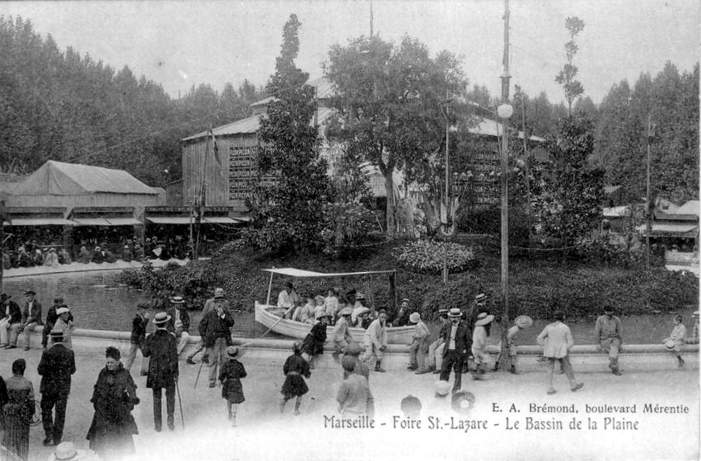 Marseille - Foire St Lazare / Bassin de la plaine - Carte postale ancienne et vue d'Hier et ...