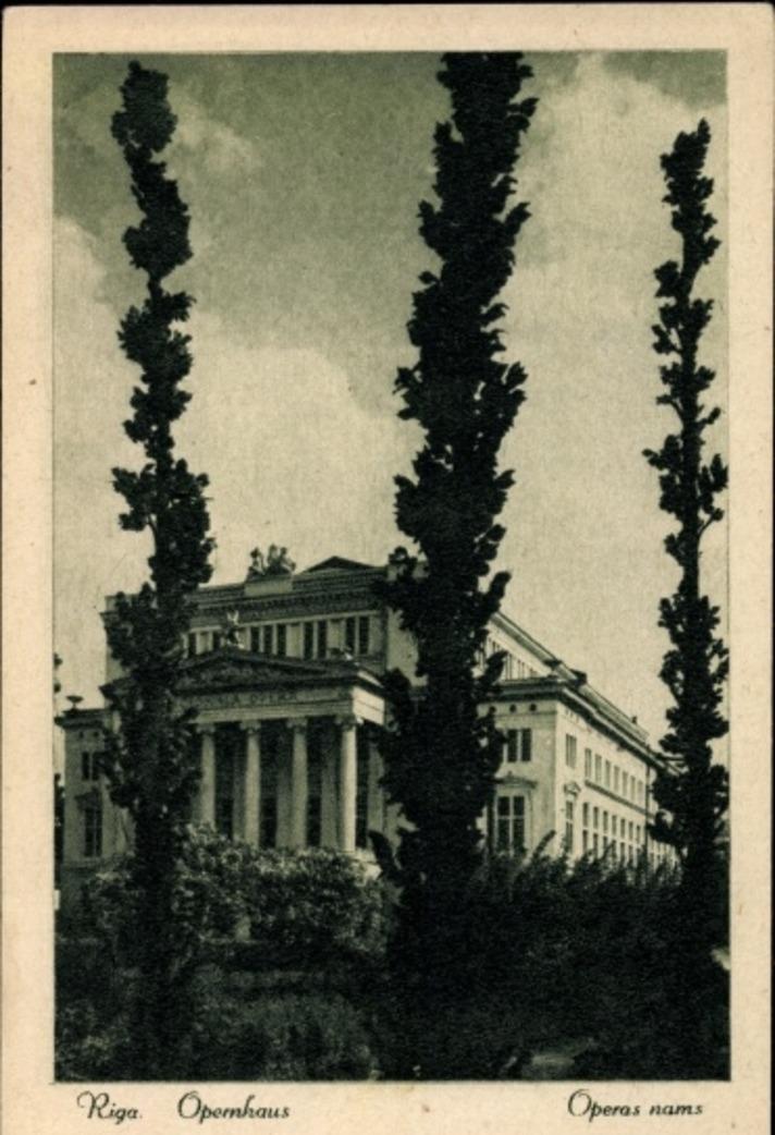 Riga -  Cp Riga Lettland, Ansicht vom Opernhaus, Operas nams