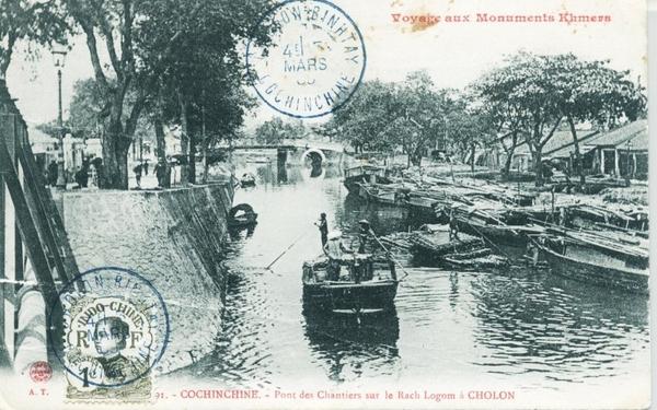 Cholon - Cochinchine : Pont des Chantiers sur le Rach Logom à Cholon