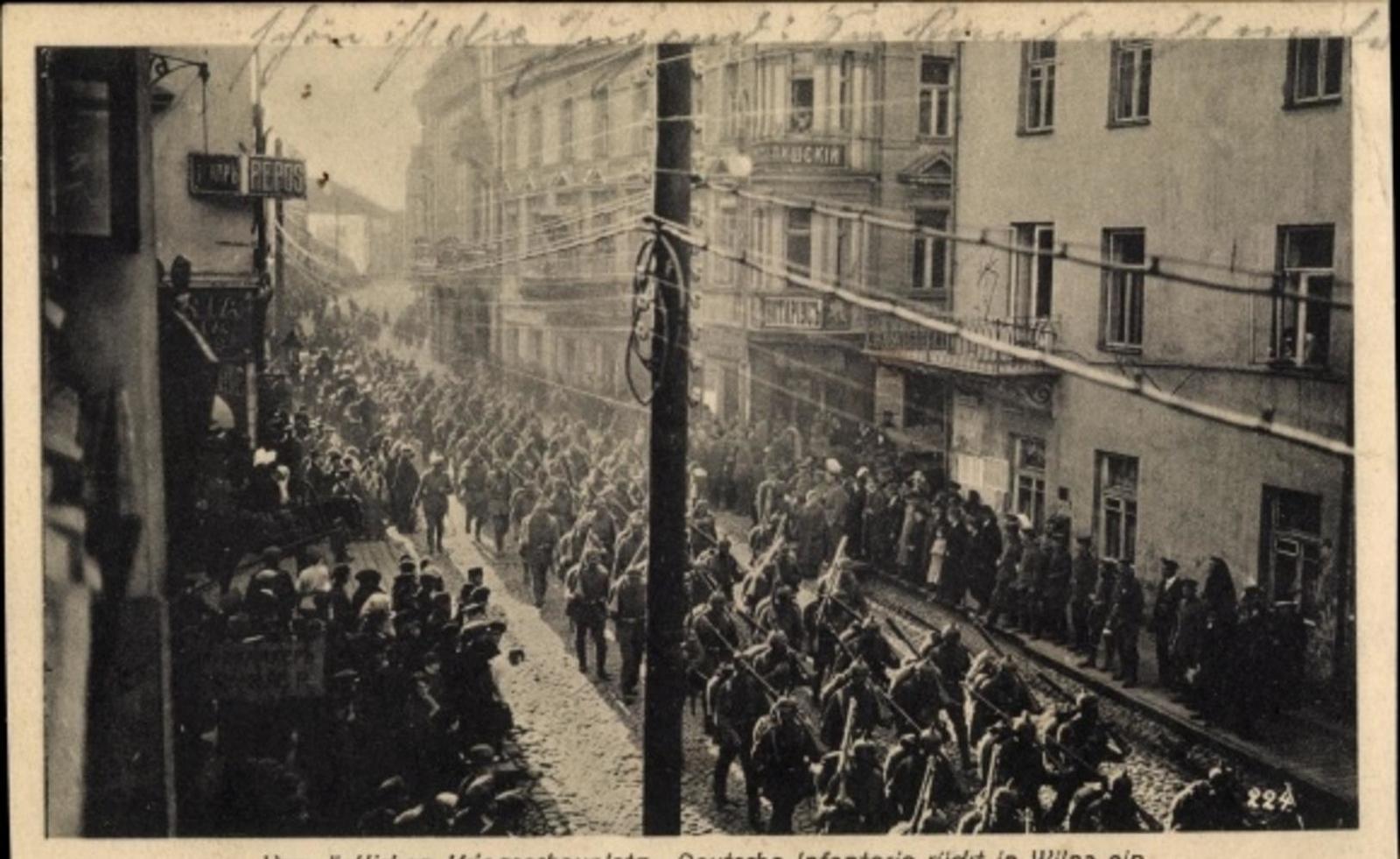 Vilnius -  Cp Vilnius Wilna Litauen, Deutsche Infanterie rückt ein, Östlicher Kriegsschauplatz, I. WK