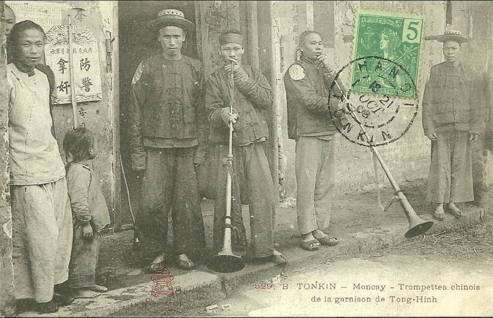-  329 B TONKIN MONCAY TROMPETTE CHINOIS GARNISON DE TONG HINGH  GROS PLAN PERSONNAGES