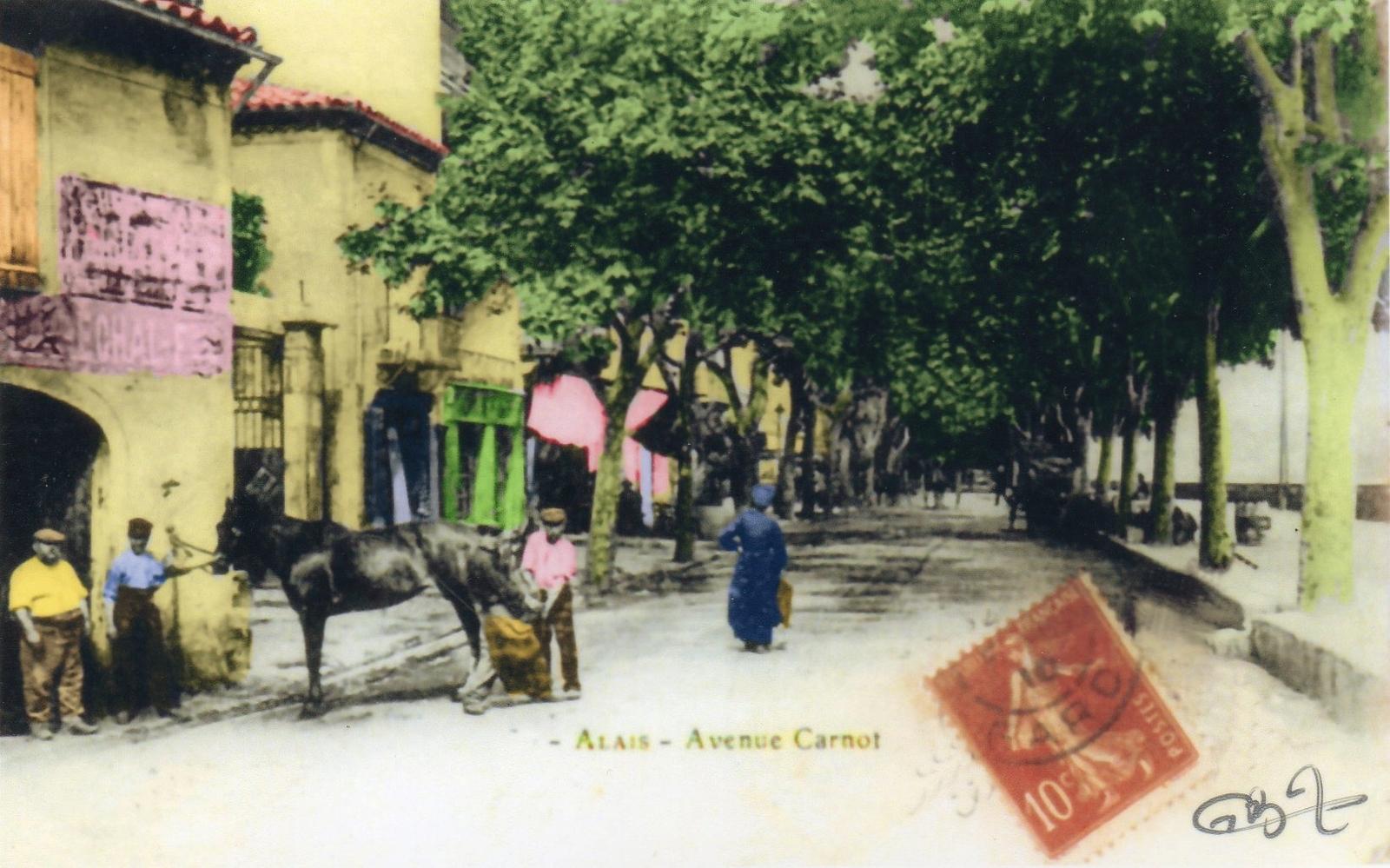 Alès - Alais et depuis 1926 Alès (Gard), carte colorisée, Avenue Carnot.