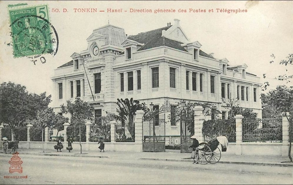 Hanoï - VIET NAM . TONKIN . HANOI . DIRECTION GENERALE DES POSTES ET TELEGRAPHES . CPA ANIMEE . 1908 .