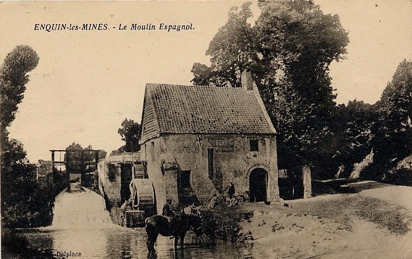 Enquin-les-Mines - Le Moulin Espagnol - Carte postale ancienne et vue d'Hier et Aujourd'hui ...