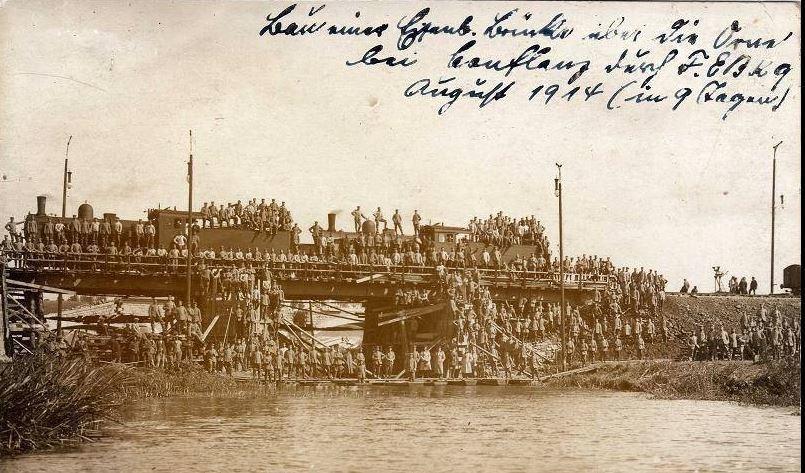 Conflans-en-Jarnisy - CONFLANS-en-JARNISY (54), le Pont de Chemin de Fer sur la rivière Orne, août 1914