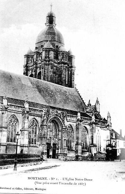 Mortagne-au-Perche -  Eglise Notre Dame avant l'incendie de 1887