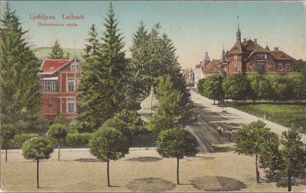 Ljubljana -  LJUBLJANA - LAIBACH BLEIWEISOVA ROAD. ZENSURIERT. CENSORED OLD POSTCARD USED
