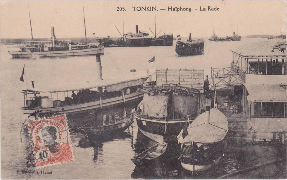 -  cpa vietnam indo-chine Tonkin Haïphong la rade P.Dieulefis Hanoï n°205 petite animation 1917