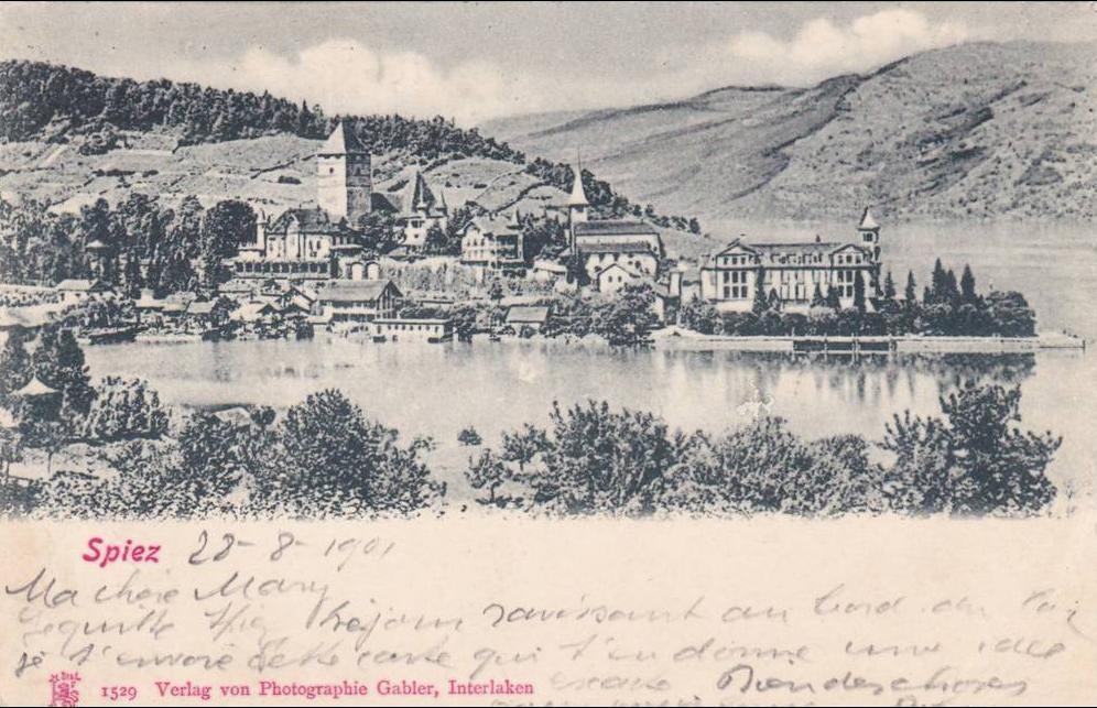 Spiez - SPIEZ - Jolie carte écrite en 1901 - Beaux cachet central avec le Zumstein 83 - 2 scann